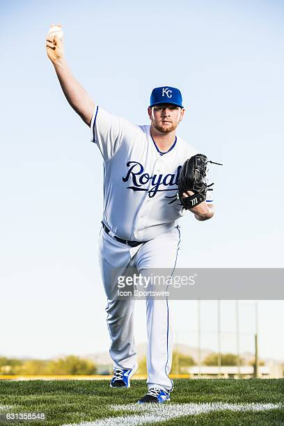Pitcher Brooks Pounders poses for a portrait during the Kansas City Royals photo day on February 25 at Surprise Stadium in Surprise AZ