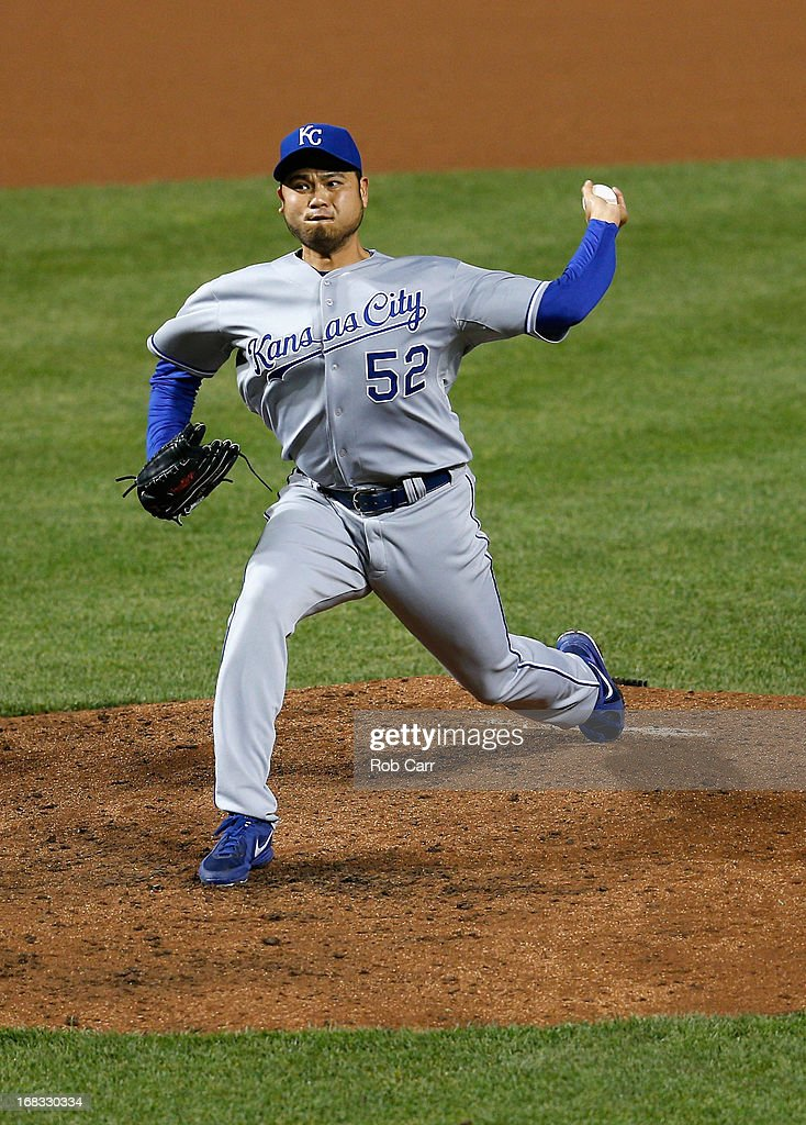 Pitcher Bruce Chen #52 of the Kansas City Royals throws to a Baltimore Orioles batter during the eighth inning of the Orioles 5-3 win at Oriole Park at Camden Yards on May 8, 2013 in Baltimore, Maryland.