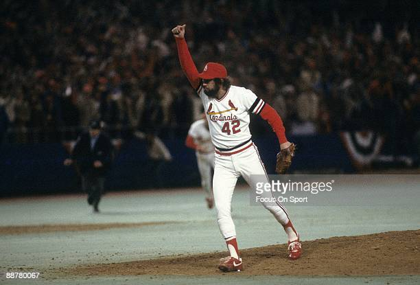 Pitcher Bruce Sutter throws his hand in the air after the Cardinal defeat the Milwaukee Brewers in game seven to win the 1982 World Series at Busch...