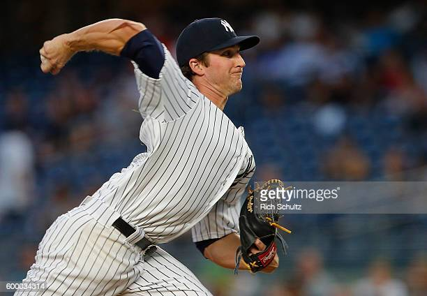 Pitcher Bryan Mitchell of the New York Yankees delivers a pitch against the Toronto Blue Jays during the first inning of a game at Yankee Stadium on...