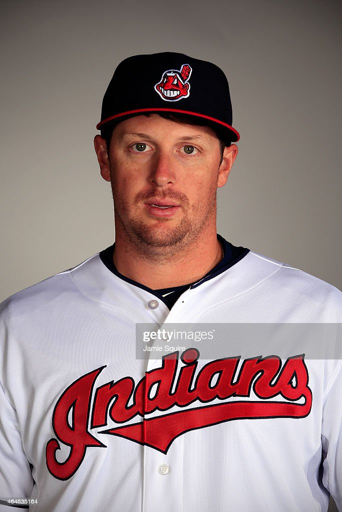 Pitcher <a gi-track='captionPersonalityLinkClicked' href=/galleries/search?phrase=Bryan+Shaw+-+Baseball+Player&family=editorial&specificpeople=11376278 ng-click='$event.stopPropagation()'>Bryan Shaw</a> #27 poses during Cleveland Indians Photo Day on February 26, 2015 in Goodyear, Arizona.
