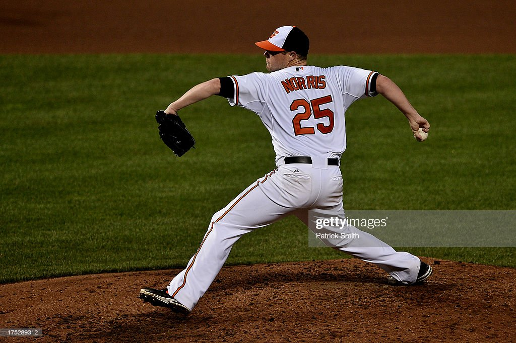 Pitcher <a gi-track='captionPersonalityLinkClicked' href=/galleries/search?phrase=Bud+Norris&family=editorial&specificpeople=5746311 ng-click='$event.stopPropagation()'>Bud Norris</a> #25 of the Baltimore Orioles works the fifth inning against the Houston Astros at Oriole Park at Camden Yards on August 1, 2013 in Baltimore, Maryland.