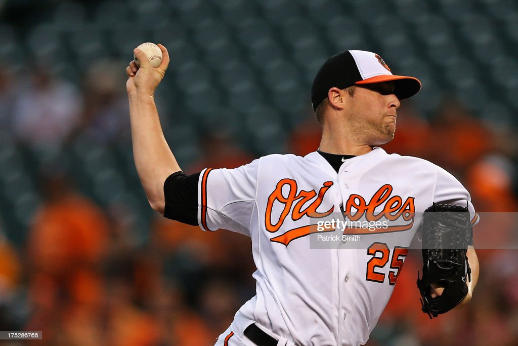 Pitcher <a gi-track='captionPersonalityLinkClicked' href=/galleries/search?phrase=Bud+Norris&family=editorial&specificpeople=5746311 ng-click='$event.stopPropagation()'>Bud Norris</a> #25 of the Baltimore Orioles works the first inning against the Houston Astros at Oriole Park at Camden Yards on August 1, 2013 in Baltimore, Maryland.