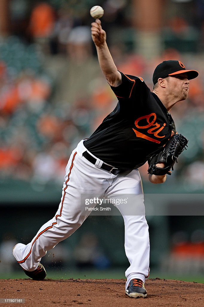 Pitcher <a gi-track='captionPersonalityLinkClicked' href=/galleries/search?phrase=Bud+Norris&family=editorial&specificpeople=5746311 ng-click='$event.stopPropagation()'>Bud Norris</a> #25 of the Baltimore Orioles works the first inning against the Oakland Athletics at Oriole Park at Camden Yards on August 23, 2013 in Baltimore, Maryland.