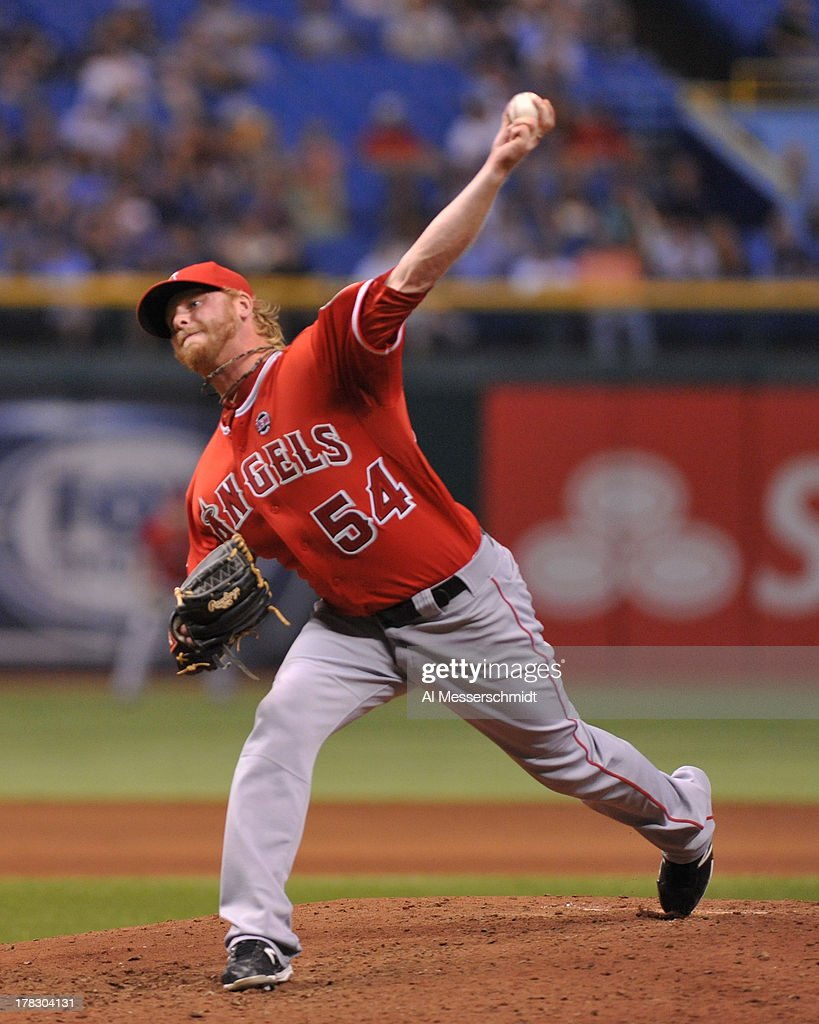 Pitcher Buddy Boshers #54 of the Los Angeles Angels of Anaheim of Anaheim throws in relief against the Tampa Bay Rays August 28, 2013 at Tropicana Field in St. Petersburg, Florida. The Rays won 4 - 1.