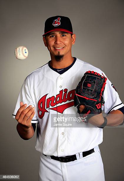 Pitcher Carlos Carrasco poses during Cleveland Indians Photo Day on February 26 2015 in Goodyear Arizona