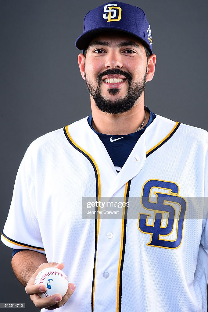 Pitcher <a gi-track='captionPersonalityLinkClicked' href=/galleries/search?phrase=Carlos+Villanueva+-+Baseball+Player&family=editorial&specificpeople=10553069 ng-click='$event.stopPropagation()'>Carlos Villanueva</a> #23 of the San Diego Padres poses for a portrait during spring training photo day at Peoria Sports Complex on February 26, 2016 in Peoria, Arizona.