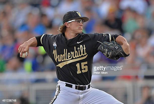 Pitcher Carson Fulmer of the Vanderbilt Commodores delivers a pitch against the Virginia Cavaliers in the first inning during game three of the...