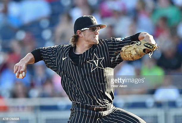 Pitcher Carson Fulmer of the Vanderbilt Commodores delivers a pitch against the Virginia Cavaliers in the first inning during game one of the College...
