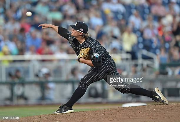 Pitcher Carson Fulmer of the Vanderbilt Commodores delivers a pitch against the Virginia Cavaliers in the fourth inning during game one of the...