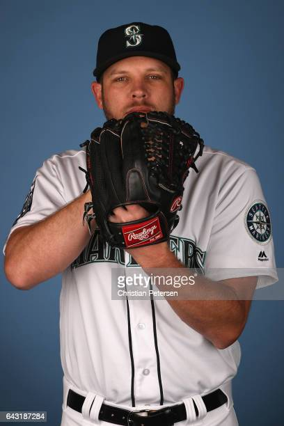 Pitcher Casey Fien of the Seattle Mariners poses for a portrait during photo day at Peoria Stadium on February 20 2017 in Peoria Arizona