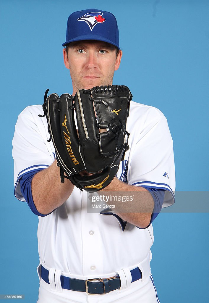Pitcher <a gi-track='captionPersonalityLinkClicked' href=/galleries/search?phrase=Casey+Janssen&family=editorial&specificpeople=598479 ng-click='$event.stopPropagation()'>Casey Janssen</a> #44 of the Toronto Blue Jays poses on Photo Day February 25, 2014 in Dunedin, Florida.