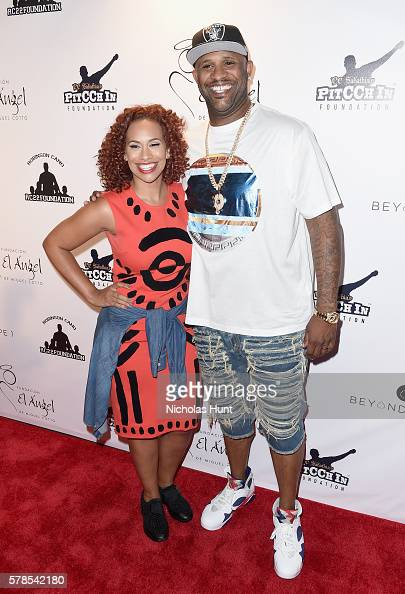 MLB pitcher CC Sabathia and Amber Sabathia attend the Roc Nation Summer Classic Charity Basketball Tournament at Barclays Center of Brooklyn on July...