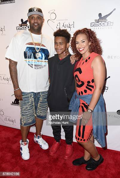 MLB pitcher CC Sabathia and family attend the Roc Nation Summer Classic Charity Basketball Tournament at Barclays Center of Brooklyn on July 21 2016...