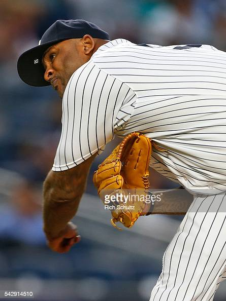 Pitcher CC Sabathia of the New York Yankees in action against the Detroit Tigers during a game at Yankee Stadium on June 10 2016 in the Bronx borough...