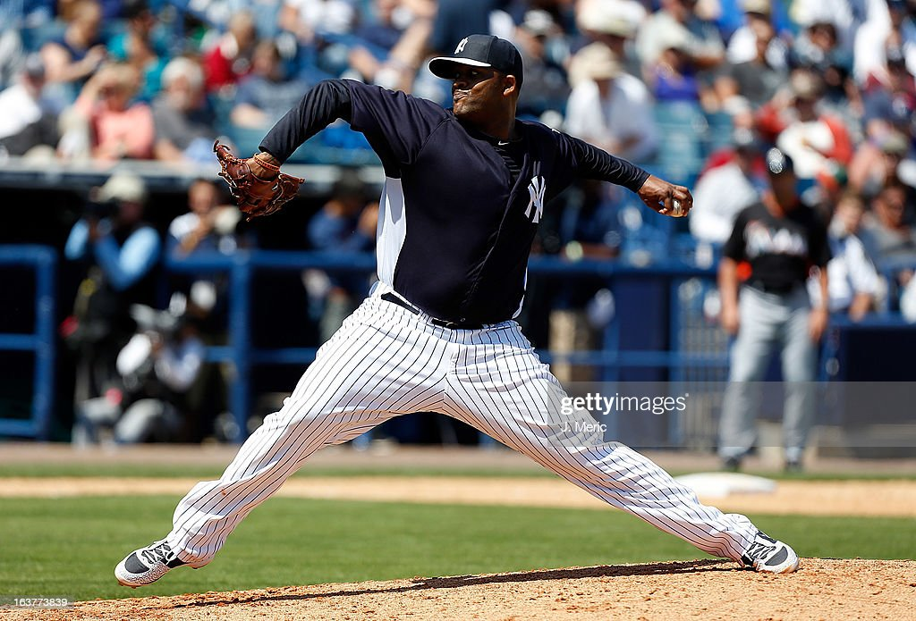 Pitcher <a gi-track='captionPersonalityLinkClicked' href=/galleries/search?phrase=C.C.+Sabathia&family=editorial&specificpeople=212819 ng-click='$event.stopPropagation()'>C.C. Sabathia</a> #52 of the New York Yankees pitches against the Miami Marlins during a Grapefruit League Spring Training Game at George M. Steinbrenner Field on March 15, 2013 in Tampa, Florida.