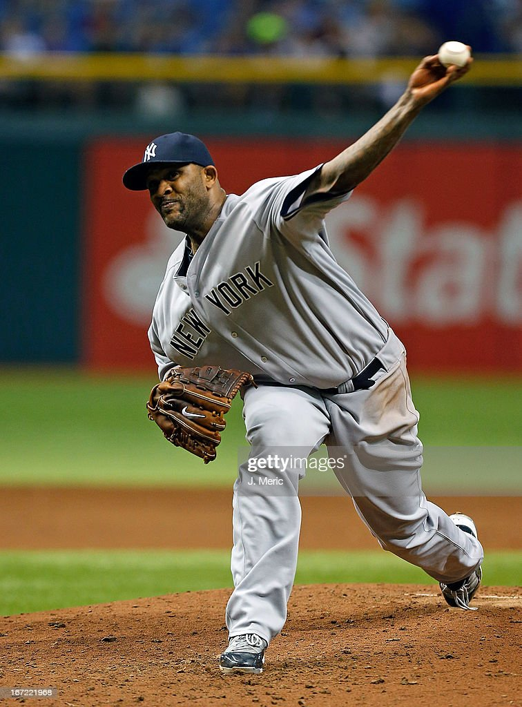 Pitcher <a gi-track='captionPersonalityLinkClicked' href=/galleries/search?phrase=C.C.+Sabathia&family=editorial&specificpeople=212819 ng-click='$event.stopPropagation()'>C.C. Sabathia</a> #52 of the New York Yankees pitches against the Tampa Bay Rays during the game at Tropicana Field on April 22, 2013 in St. Petersburg, Florida.
