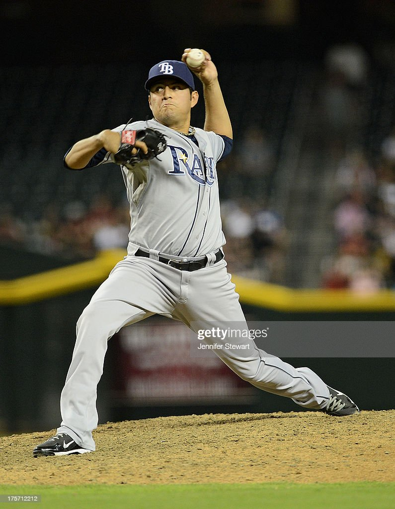 Pitcher Cesar Ramos #27 of the Tampa Bay Rays against the Arizona Diamondbacks Tampa Bay Rays in the eighth inning at Chase Field on August 6, 2013 in Phoenix, Arizona. The Diamondbacks defeated the Rays 6-1.