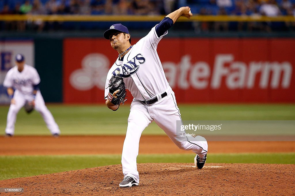 Pitcher Cesar Ramos #27 of the Tampa Bay Rays closes out the game against the Chicago White Sox at Tropicana Field on July 5, 2013 in St. Petersburg, Florida.