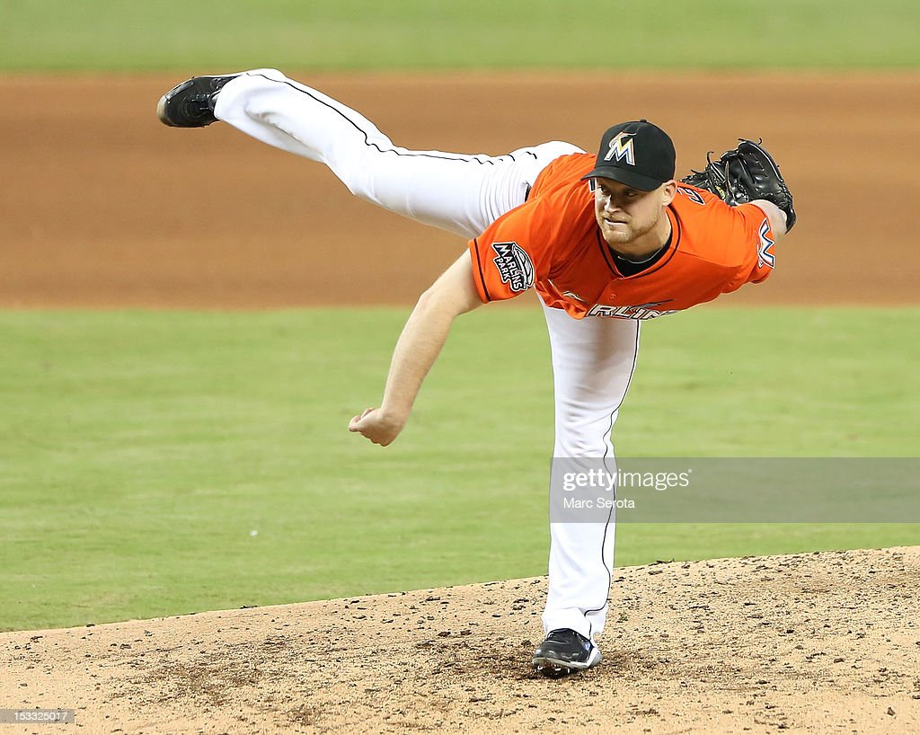 Pitcher Chad Gaudin #57 of the Miami Marlins throws against the New York Mets at Marlins Park on October 3, 2012 in Miami, Florida.