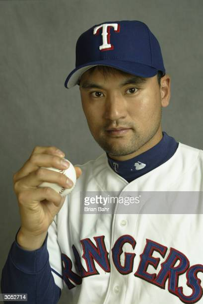 Pitcher Chan Ho Park of the Texas Rangers poses for a picture during Texas Rangers Media Day at Surprise Stadium on February 26 2004 in Surprise...