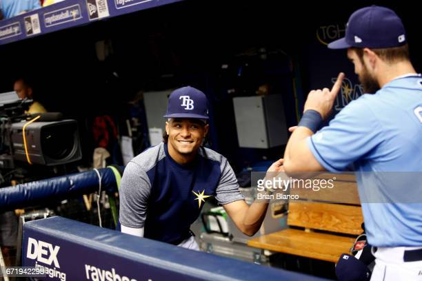 Pitcher Chris Archer of the Tampa Bay Rays and Steven Souza Jr #20 dance together in the dugout before the start of a game against the Houston Astros...