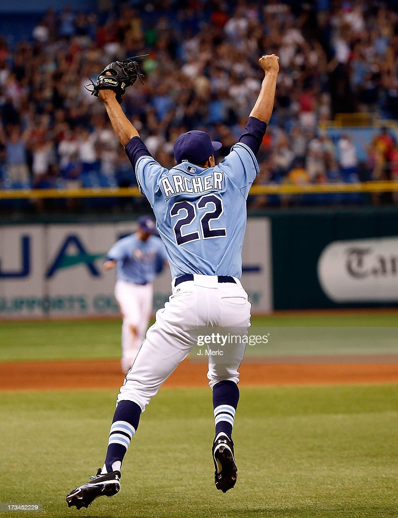 Pitcher Chris Archer #22 of the Tampa Bay Rays celebrates his complete game shutout of the Houston Astros at Tropicana Field on July 14, 2013 in St. Petersburg, Florida.