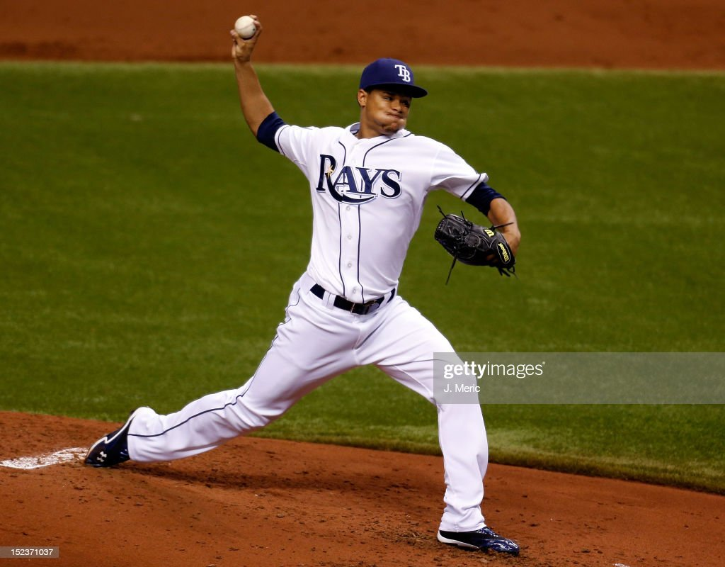 Pitcher Chris Archer #22 of the Tampa Bay Rays pitches against the Boston Red Sox during the game at Tropicana Field on September 19, 2012 in St. Petersburg, Florida.