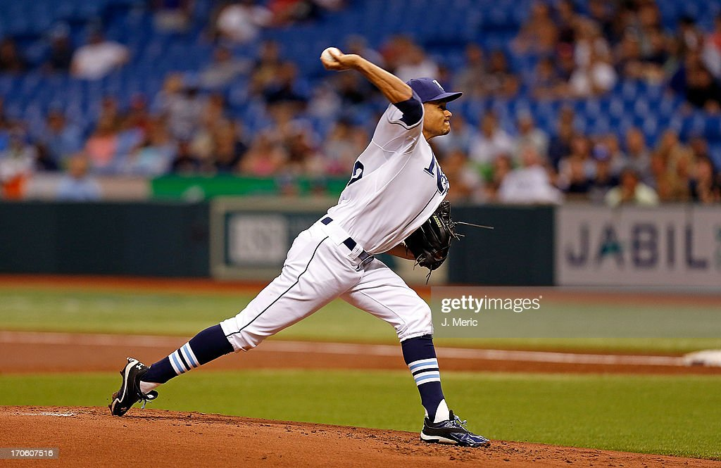 Pitcher Chris Archer #22 of the Tampa Bay Rays pitches against the Boston Red Sox at Tropicana Field on June 12, 2013 in St. Petersburg, Florida.