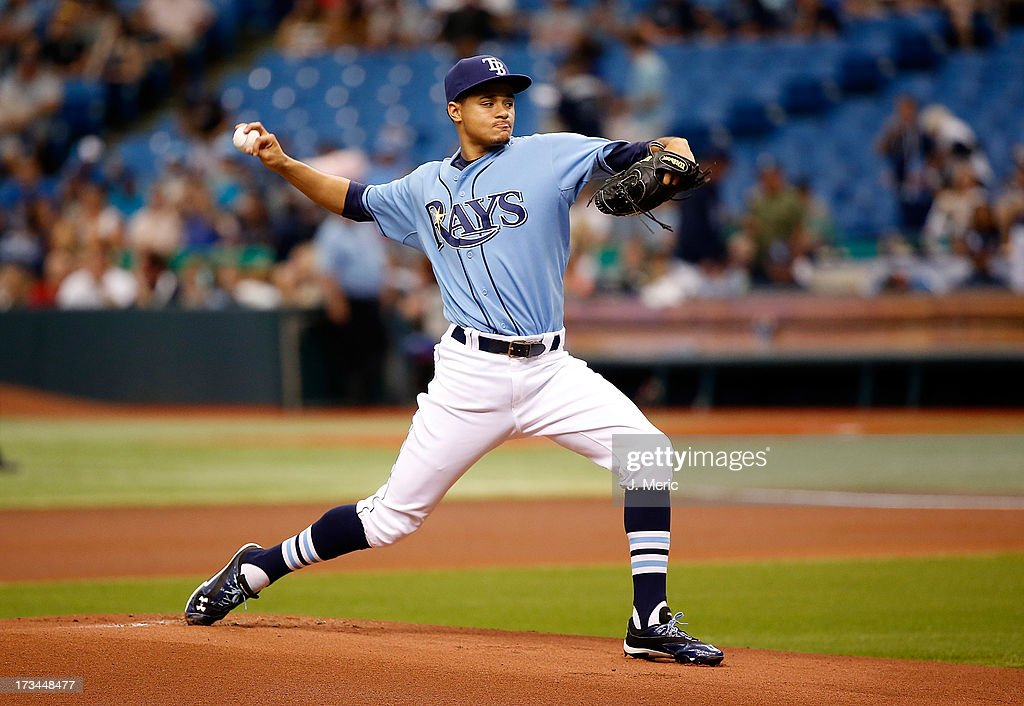 Pitcher Chris Archer #22 of the Tampa Bay Rays pitches against the Houston Astros during the game at Tropicana Field on July 14, 2013 in St. Petersburg, Florida.