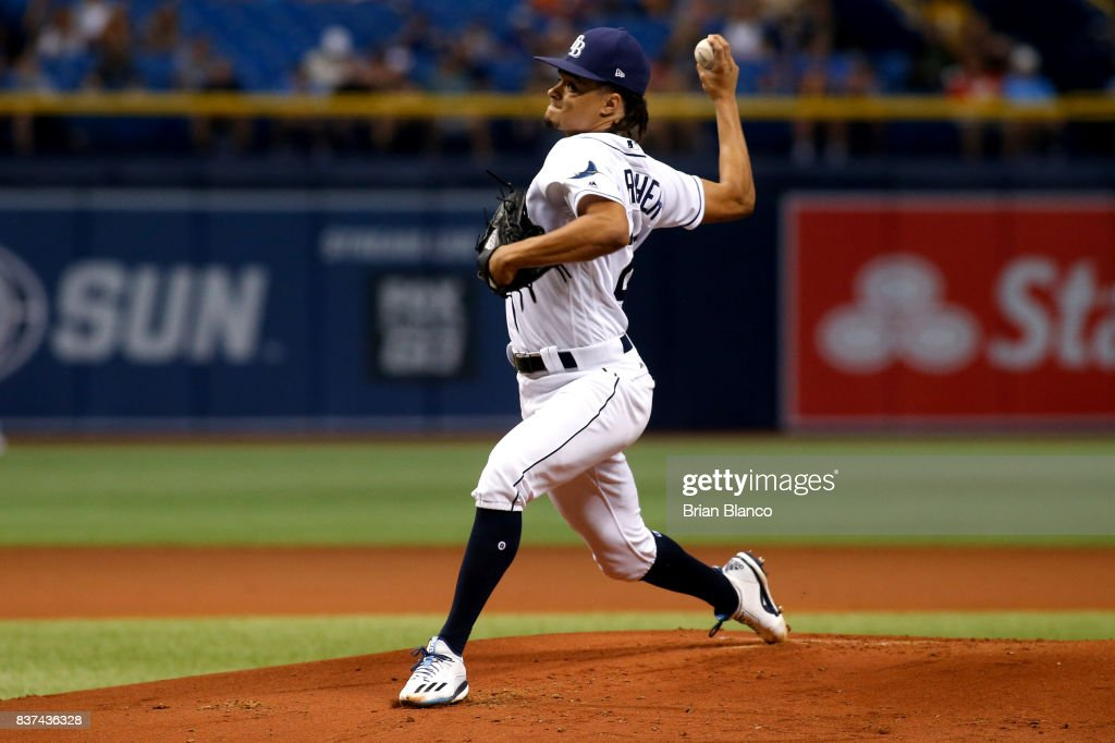 Pitcher Chris Archer #22 of the Tampa Bay Rays pitches during the first inning of a game against the Toronto Blue Jays on August 22, 2017 at Tropicana Field in St. Petersburg, Florida.