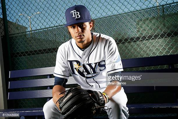 Pitcher Chris Archer of the Tampa Bay Rays poses for a photo during the Rays' photo day on February 25 2016 at Charlotte Sports Park in Port...