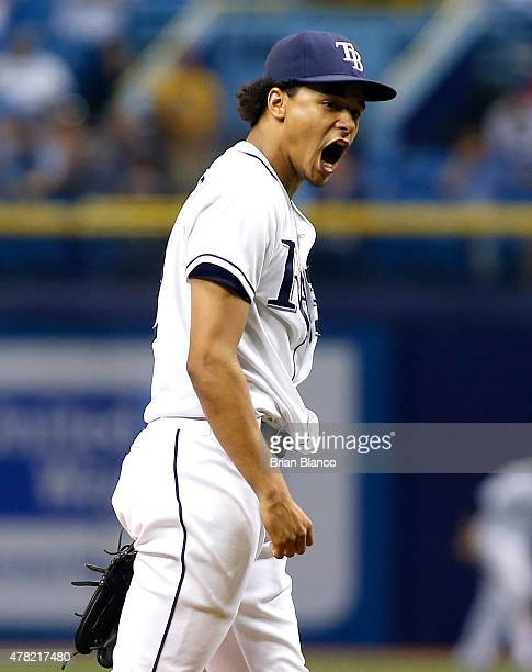 Pitcher Chris Archer of the Tampa Bay Rays reacts on the mound after striking out Josh Donaldson of the Toronto Blue Jays to end the top of the...