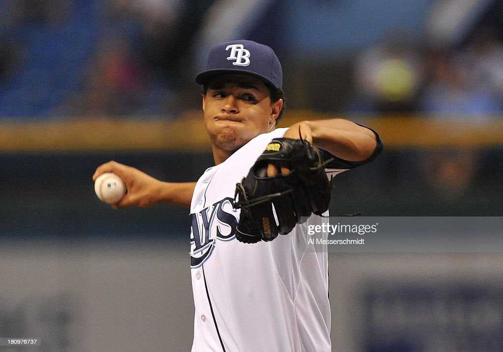 Pitcher Chris Archer #22 of the Tampa Bay Rays starts against the Texas Rangers September 18, 2013 at Tropicana Field in St. Petersburg, Florida.