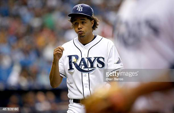 Pitcher Chris Archer of the Tampa Bay Rays walks back to the dugout during the fifth inning of a game against the Boston Red Sox on September 11 2015...
