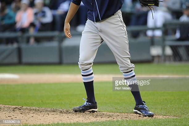Pitcher Chris Archer of the Tampa Bay Rays wears his socks high in a traditional 'old school' manner showing their stripes against the Chicago White...