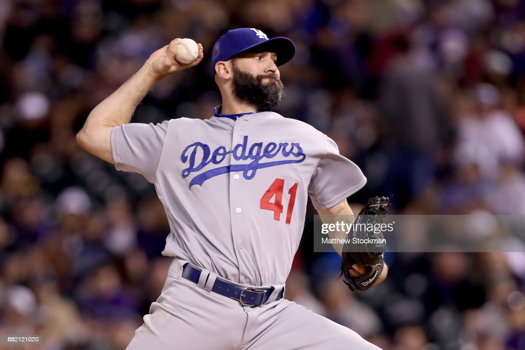 Pitcher Chris Hatcher #41 of the Los Angeles Dodgers throws in the sixth inning against the Colorado Rockies at Coors Field on May 11, 2017 in Denver, Colorado.