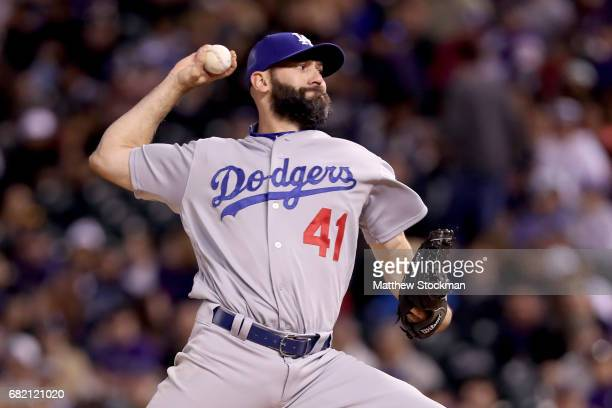 Pitcher Chris Hatcher of the Los Angeles Dodgers throws in the sixth inning against the Colorado Rockies at Coors Field on May 11 2017 in Denver...