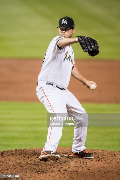 Pitcher Chris O'Grady of the Miami Marlins pitches during a MLB game against the Washington Nationals at Marlins Park on August 1 2017 in Miami...