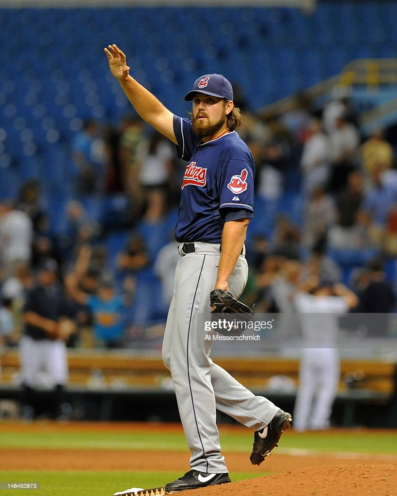 Pitcher Chris Perez #54 of the Cleveland Indians closes the ninth inning against the Tampa Bay Rays July 16, 2012 at Tropicana Field in St. Petersburg, Florida. The Indians won 3 - 2.