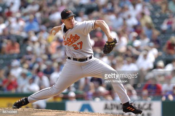 Pitcher Chris Ray of the Baltimore Orioles pitches during the game against the Texas Rangers at Ameriquest Field in Arlington on August 6 2005 in...