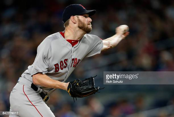 Pitcher Chris Sale of the Boston Red Sox delivers a pitch against the New York Yankees during the first inning of a game at Yankee Stadium on...
