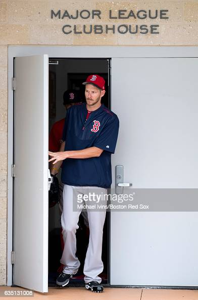 Pitcher Chris Sale of the Boston Red Sox leaves the clubhouse before a workout on February 13 2017 at jetBlue Park in Fort Myers Florida Chris Sale