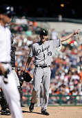 Pitcher Chris Sale of the Chicago White Sox shouts and gestures at Victor Martinez of the Detroit Tigers after hitting him with a pitch during the...