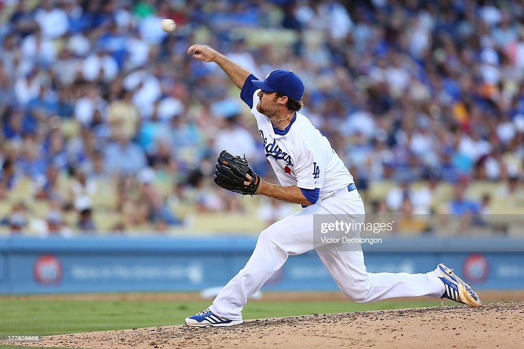 Pitcher Chris Withrow #44 of the Los Angeles Dodgers pitches in the sixth inning against the Boston Red Sox during their MLB game against the Los Angeles Dodgers at Dodger Stadium on August 25, 2013 in Los Angeles, California. The Red Sox defeated the Dodgers 8-1.