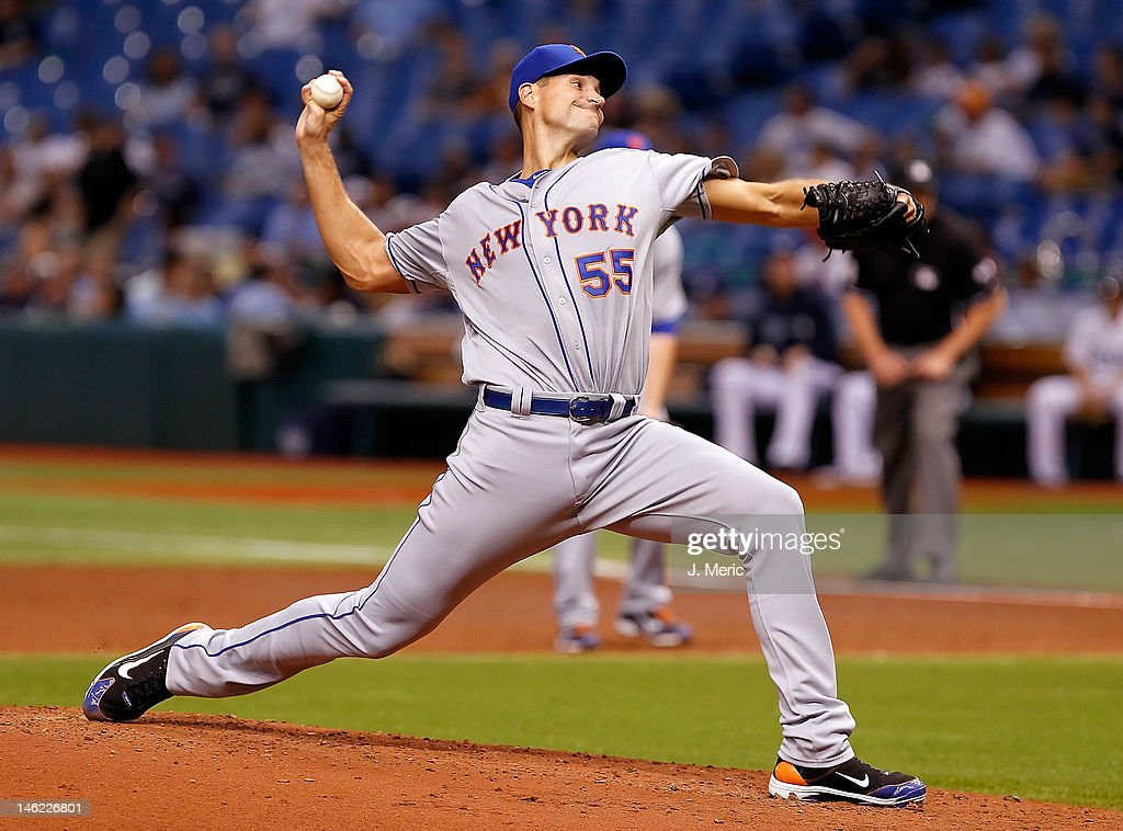 Pitcher Chris Young #55 of the New York Mets pitches against the Tampa Bay Rays during the game at Tropicana Field on June 12, 2012 in St. Petersburg, Florida.