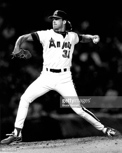 Pitcher Chuck Finley of the California Angels throws during an MLB game circa 1990 at Anaheim Stadium in Anaheim California