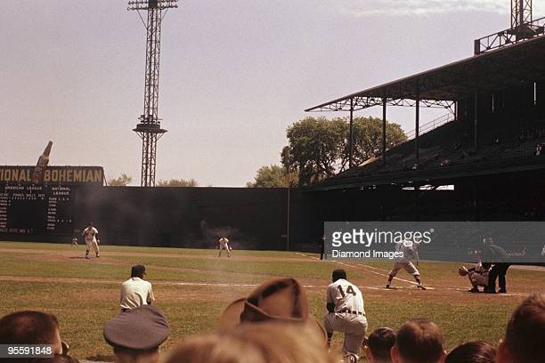 Pitcher Chuck Stobbs of the Washington Nationals throws a pitch to thirdbaseman George Kell of the Chicago White Sox during the top of the second...