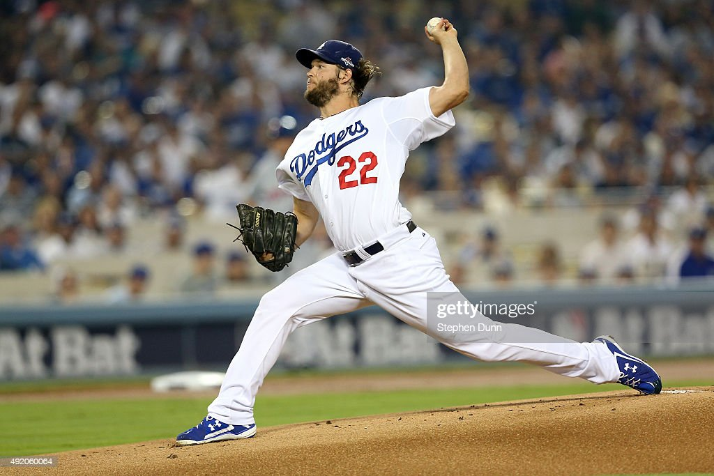 Pitcher Clayton Kershaw of the Los Angeles Dodgers pitches in the first inning against the New York Mets in game one of the National League Division...