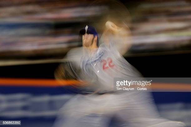 Pitcher Clayton Kershaw of the Los Angeles Dodgers pitching during the Los Angeles Dodgers Vs New York Mets regular season MLB game at Citi Field on...